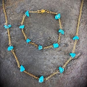 Turquoise &gold plated chain, necklace & bracelet